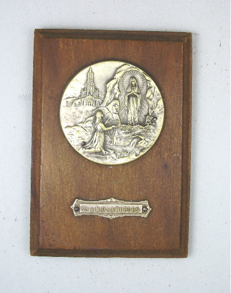 Antique Silver Wood LOURDES Plaque St Bernadette VIRGIN MARY-loupqq