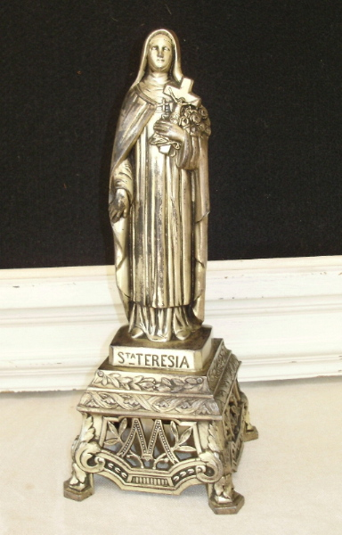 LARGE Antique Silver FRENCH ST Saint TERESA STATUE Old-lrgstt