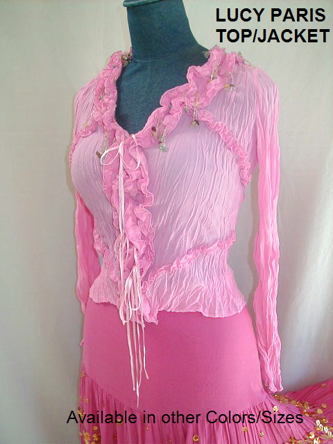 NWT NEW SEXY Lucy Paris PINK GYPSY Peasant Blouse TOP Shirt BOHO Size S/M-lucytoppkrufst