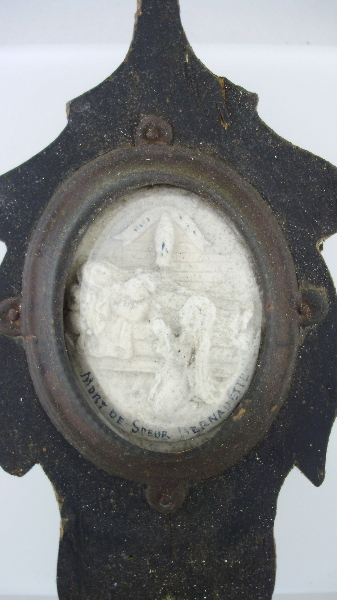 Rare Antique FRENCH Napoleon III MEERSCHAUM Mourning Relic Saint BERNADETTE Glass Dome Cover Wood Frame-m-bern