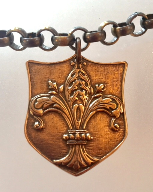 FRENCH Silver Watch Fob Tag FLEUR de LIS Crown Wreath Medal Necklace-m-brzbob
