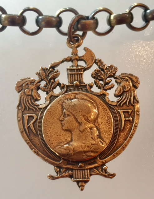 Bronze FRENCH Liberty Symbol MARIANNE Medal Necklace FISHING Award-m-fishb