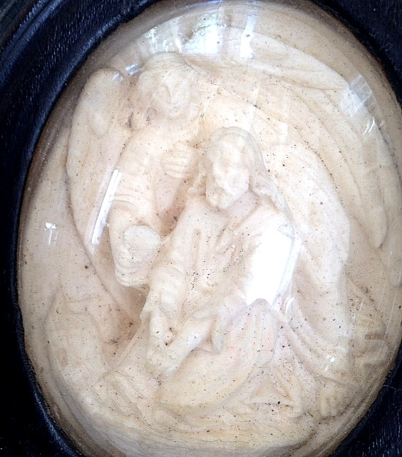 Antique FRENCH Napoleon III MEERSCHAUM Relic GUARDIAN ANGEL JESUS Glass Dome Wood Frame-m-gajes