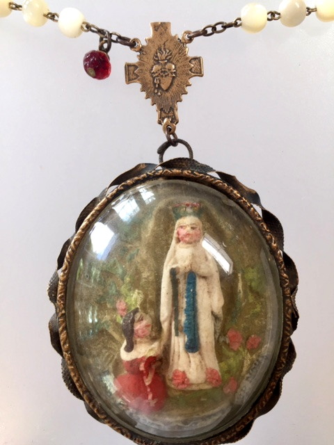 Antique RELIGIOUS Napoleon III FRENCH Carved Meerschaum LOURDES SAINT BERNADETTE Relic Pendant Necklace ROSARY Beads-m-louclrd
