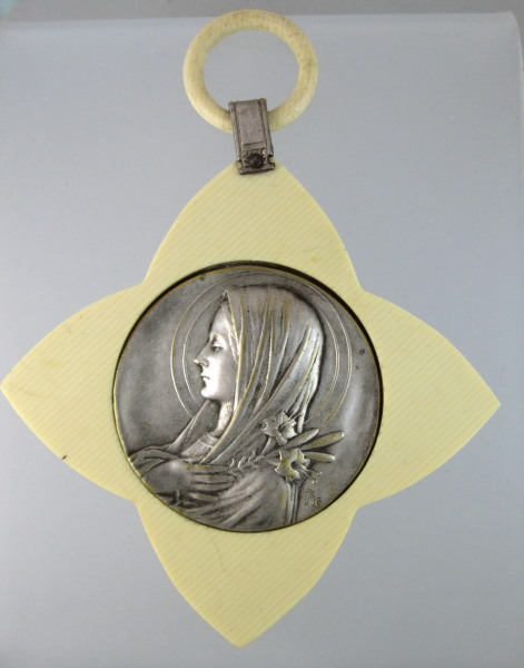 Antique FRENCH IVORY Virgin Mary LOURDES Crib Medal Souvenir-m-louiv