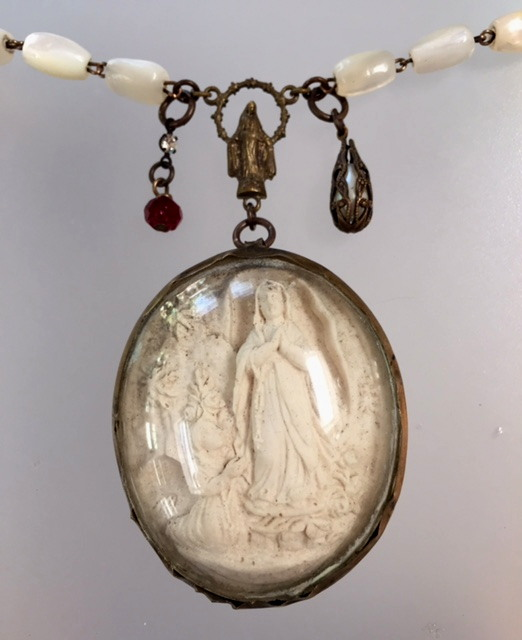 Antique Religious FRENCH Hand Carved RELIC Napolean III  Meerschaum LOURDES Virgin Mary St Bernadette RED Rosary Beads Pendant Necklace-m-loux