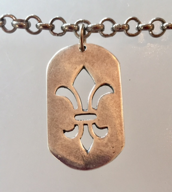 FRENCH Silver FLEUR de LIS MedaL DOG TAG  Necklace-m-slvfdl