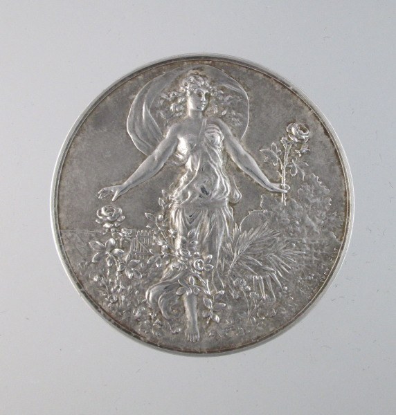 Large Silver BRONZE Art Nouveau SPRING Medal Signed MASSONNET Woman-m-sprng
