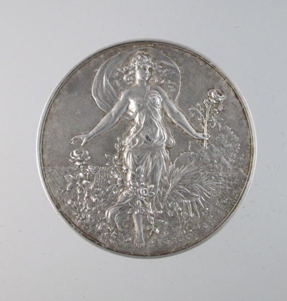 Large Silver BRONZE Art Nouveau SPRING Medal Signed MASSONNET Woman-m-sprng