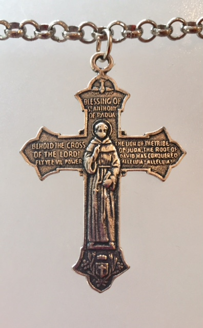2 Sided French St ANTHONY and Saint FRANCIS Cross NECKLACE-m-stastf