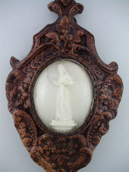Antique FRENCH Wood Framed Saint BENEDICT Religious MEERSCHAUM Relic Glass Dome Cover -m-stben