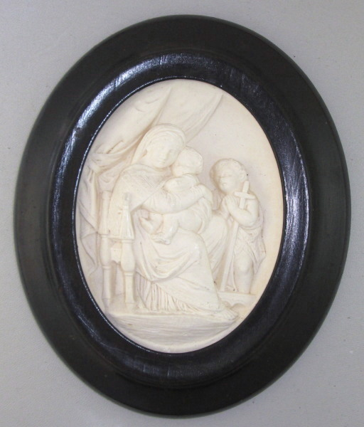 Antique FRENCH Napoleon III MEERSCHAUM Relic VIRGIN Mary JESUS St JOHN Baptist Wood Frame-m-stjvm