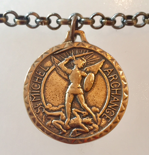Bronze SAINT MICHAEL Medal Necklace MONT St Michel-m-stmichb