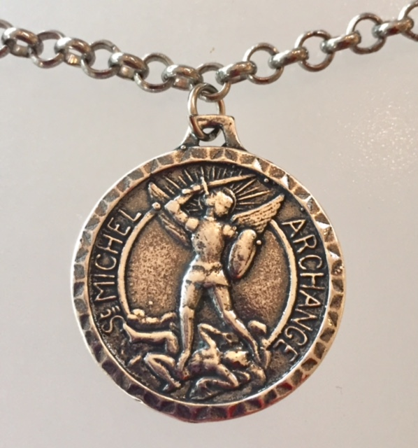 Silver SAINT MICHAEL Medal Necklace MONT St Michel-m-stmich