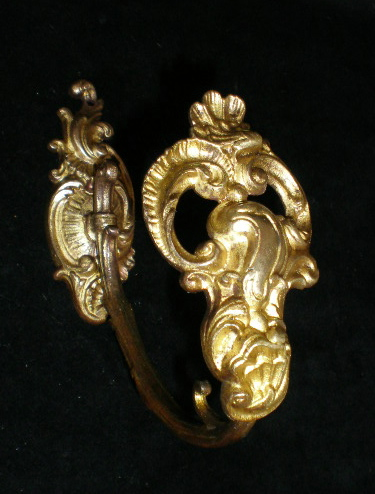 Antique FRENCH BRONZE Ormolu Curtain Hardware ACANTHUS SHELL Motif Paris-mm4leaf