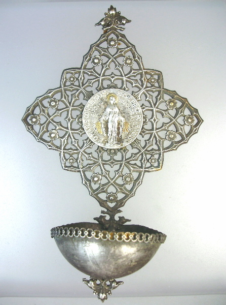 Religious Antique FRENCH Silver MIRACULOUS MARY Holy Water FONT-mmfont
