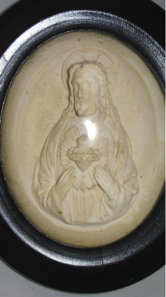 Antique FRENCH Napoleon III Religious MEERSCHAUM Relic SACRED HEART of JESUS CHRIST Glass Dome Cover Wood Frame-mr-jsh