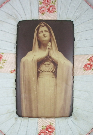 Religious ANTIQUE Fabric Frame SACRED HEART MARY w ROSES Reliquary SEPIA Photograph-msh