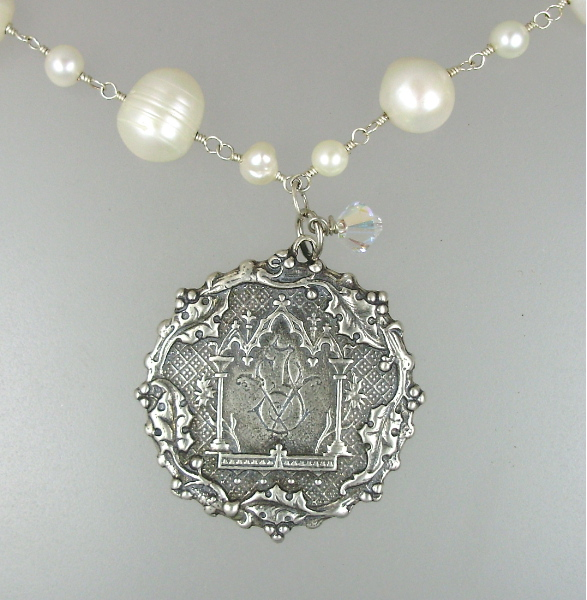 Genuine White Freshwater PEARL NECKLACE with Sterling Silver-plate Antique LUTECE PARIS Twin Birth Medal Pendant NECKLACE Charm MONOGRAM-n-1891