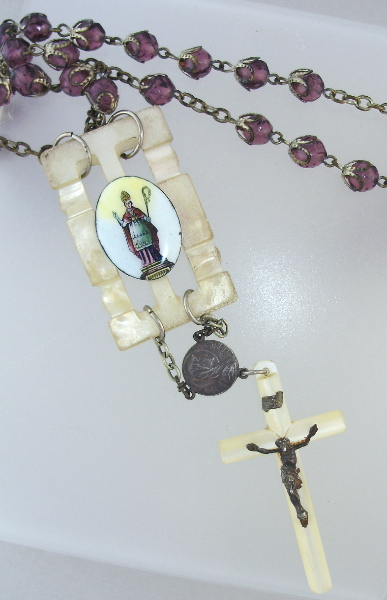 C1800 Italian SAINT Enamel Medal MOTHER of PEARL Cross PURPLE Filigree ROSARY Beads NECKLACE-n-18sr