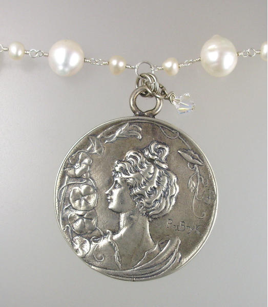 Genuine Freshwater PEARL NECKLACE with Sterling Silverplate  Art Nouveau Woman Pendant Charm  AB Swarovski Crystal -n-1mg