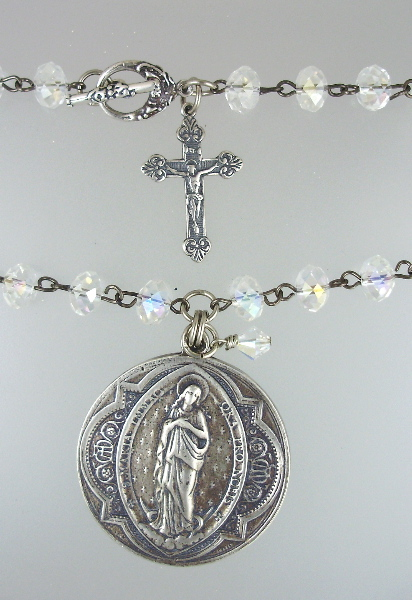 Large STERLING Silver FRENCH Virgin Mary Medal CROSS Pendant Necklace Aurora Borealis Crystal BEADS-n-26g