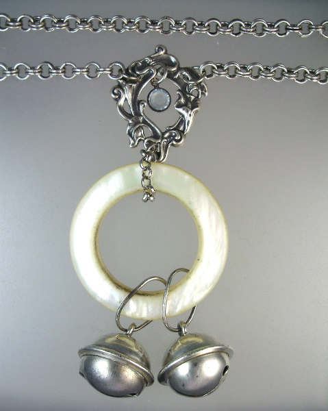 Antique STERLING SILVER 2  Bell BABY RATTLE Charm Mother of Pearl Ring Pendant Necklace-n-2bell