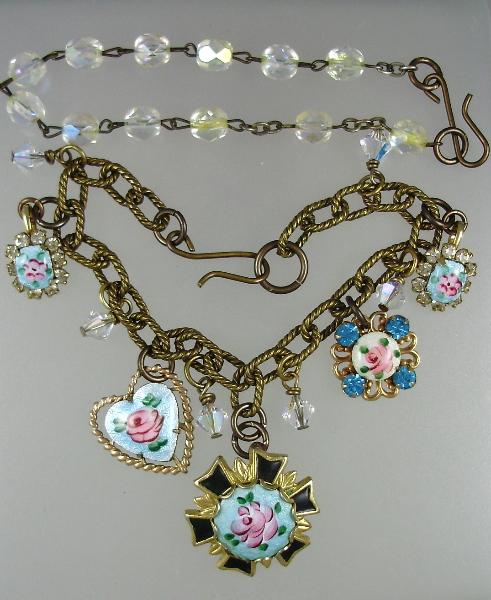 Antique 1920s French GUILLOCHE Rose Enamel CHARM Necklace BRACELET PENDANTS Faceted Crystal Beads Swarovski Crystals-n-2bgui