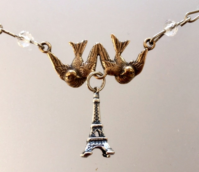 FRENCH Bronze EIFFEL TOWER Bird DOVE Charm Necklace Crystals-n-2brdet