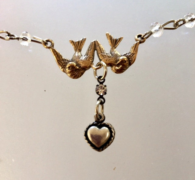 FRENCH Bronze HEART Bird DOVE Charm Necklace Crystals-n-2brdhrt