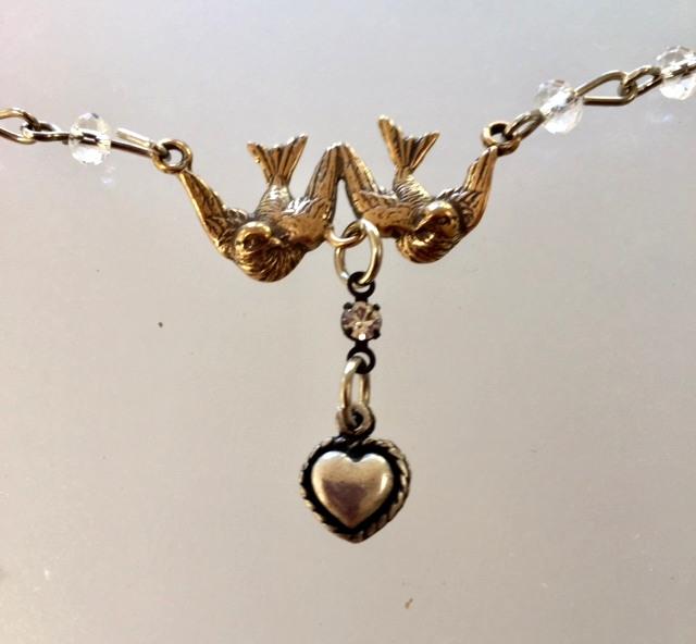 FRENCH Bronze HEART Bird DOVE Charm Necklace Crystals-n-2brdhrt