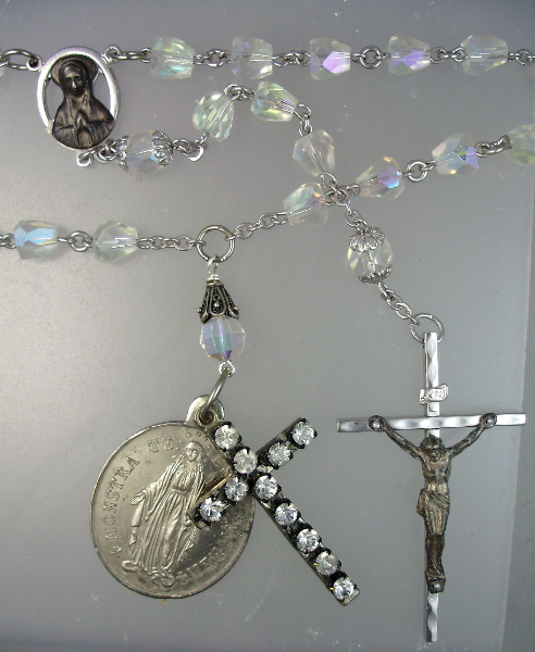 French Antique Silver MIRACULOUS MARY Medal CROSS Pendant Necklace  AB Crystal ROSARY BEADS-n-2cab