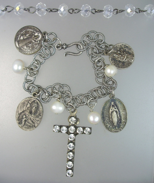 Vintage Religious RHINESTONE Cross Medals NECKLACE Bracelet LOURDES Virgin MARY Saint BENEDICT Pearls-n-2cprlr