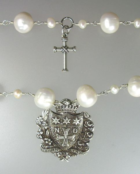 Genuine 2 Strand White Freshwater PEARL NECKLACE with 2 French Sterling Silver Charms NOTRE DAME Cross-n-2ndcr