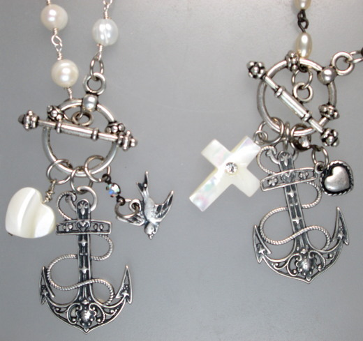 Silver ANCHOR HEART BIRD Cross Charms Trio PEARL Pendant Necklace TRINITY-n-3anc