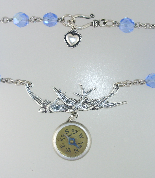 Antique Silver COMPASS Necklace Blue FRENCH Beads 3 BIRD Charm HEART-n-3bcmp