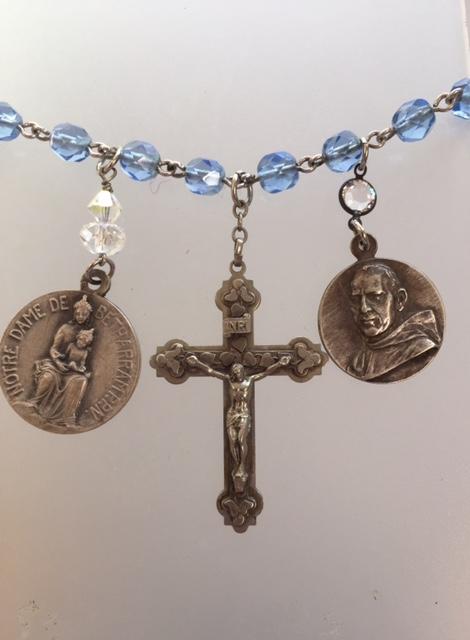 RELIGIOUS Antique FRENCH SAINTS Blue Rosary Bead Charm BRACELET NECKLACE-n-3blu