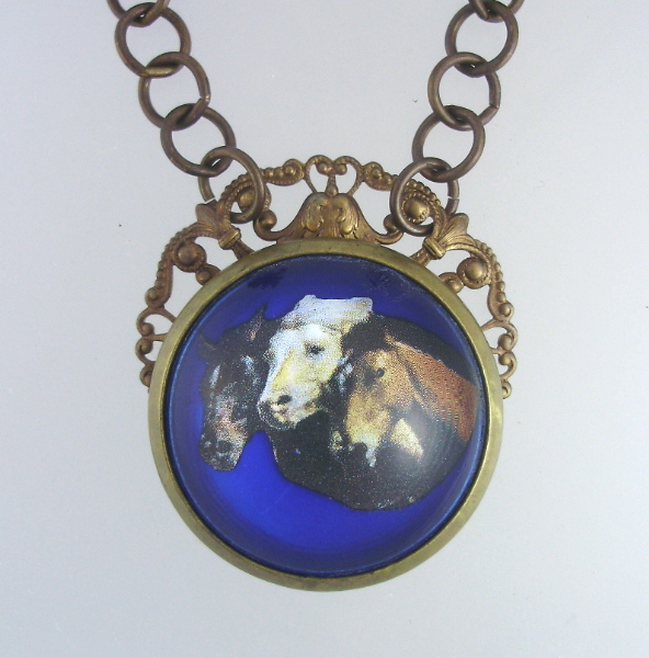 Antique English Cobalt Blue BRIDLE ROSETTE Necklace PENDANT Horse Heads Chain-n-3h