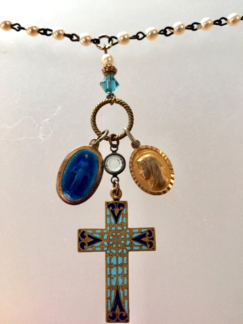 Antique GUILLOCHE Miraculous MARY Blue Enamel Medal CHAMPLEVE Cross LOURDES Necklace-n-3relx