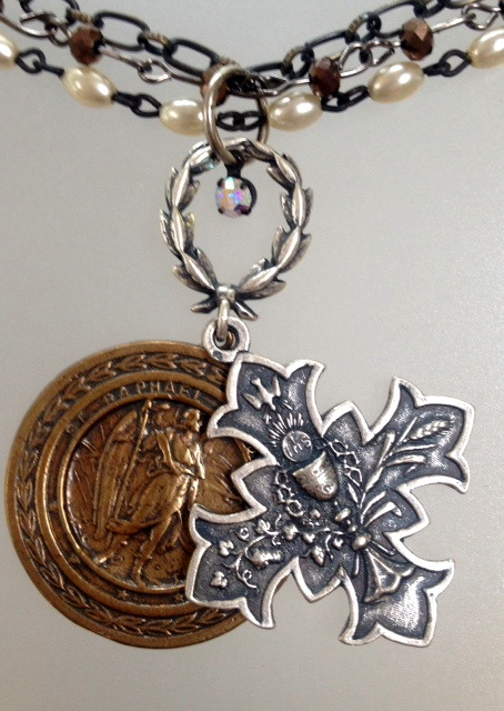 FRENCH GOTHIC Silver CROSS St CHRISTOPHER Archangel RAPHAEL Medal Necklace WREATH-n-3scrsstc