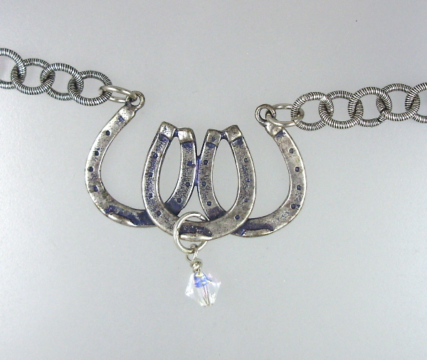 TRIPLE HORSESHOE SILVER Riding Charm Pendant NECKLACE Swarovski Crystal-n-3shoe