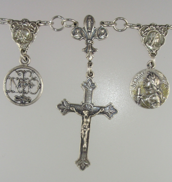 Religious LOURDES Antique French WHITE Glass ROSARY Beads STERLING Silver Charm NECKLACE Cross VIRGIN MARY St JOAN of ARC-n-3wht
