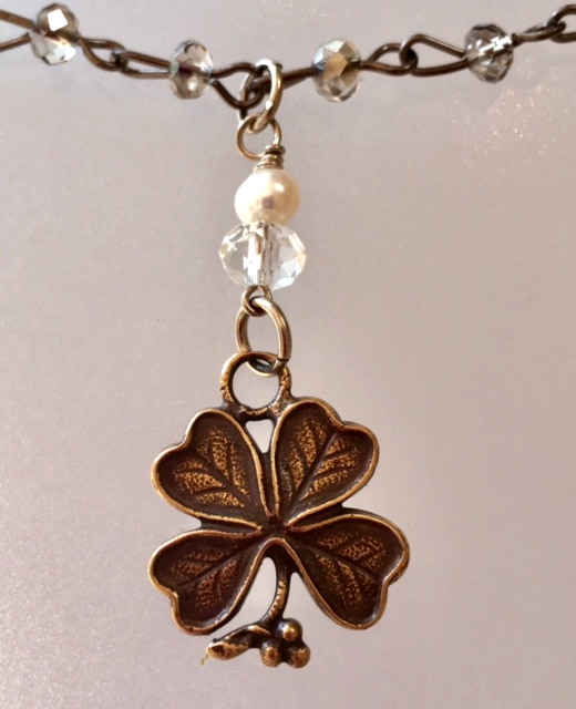 PARIS Bronze 4 Leaf CLOVER Charm CRYSTAL Necklace-n-4c