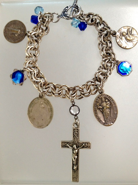 ANTIQUE French Religious CHARM BRACELET Necklace  LOURDES Miraculous MARY St Bernadette Saints CROSS-n-7blu