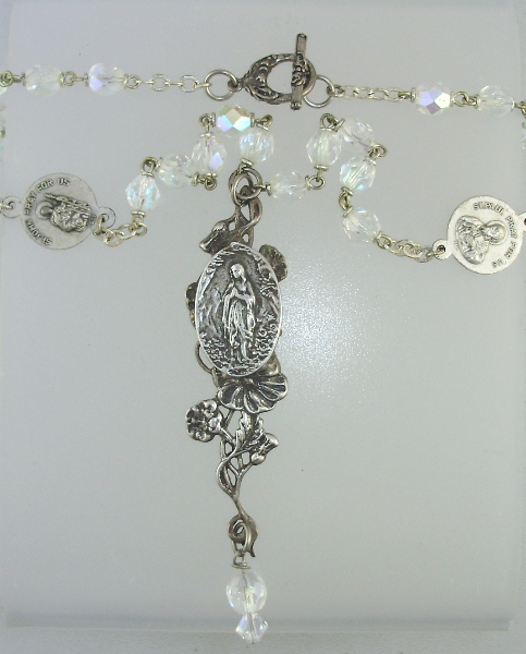 Antique CRYSTAL AB Rosary BEADS Sterling Silver LOURDES Virgin MARYn-ab3