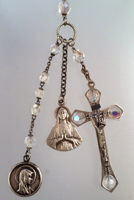 Antique FRENCH Religious LOURDES MARY Medals Silver CROSS Aurora Borealis ROSARY Beads-n-ab3
