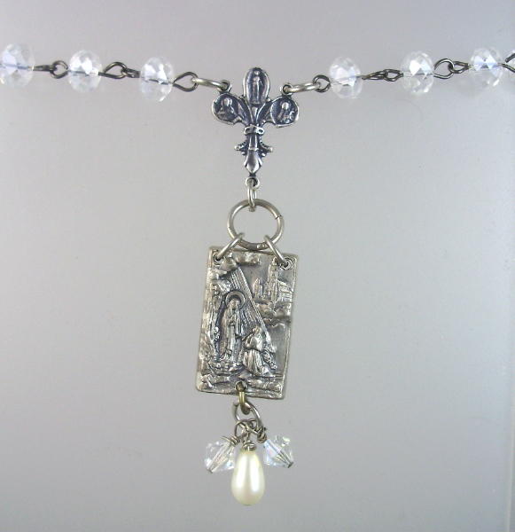 Antique FRENCH Saint Bernadette LOURDES Holy Water  Medal Sterling Fleur De Lis CROSS Crystal Beads Necklace Pendant-n-ablou