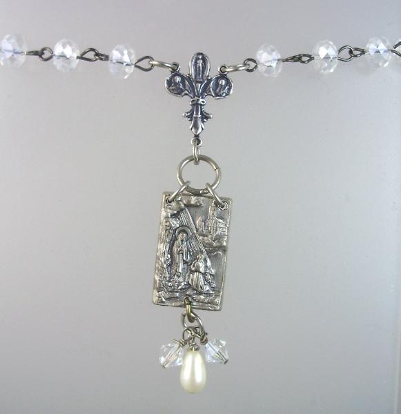 Antique FRENCH Saint Bernadette LOURDES Holy Water  Medal Sterling Fleur De Lis CROSS Crystal Beads Necklace Pendant-n-ablou
