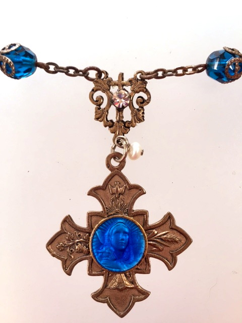 Antique FRENCH Cobalt Blue GUILLOCHED Enamel Saint AGNUS Religious Medal ROSARY Beads Necklace Bronze CROSS-n-agnbb