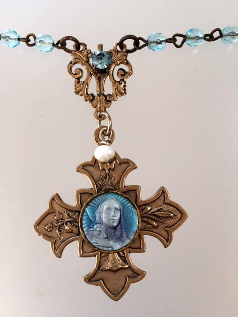 Antique FRENCH Lilac Blue Guilloche Enamel Saint AGNUS Religious Medal Crystal Beads Necklace CROSS-n-agnes